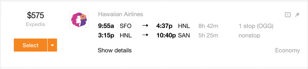 SFO to HNL for Christmas