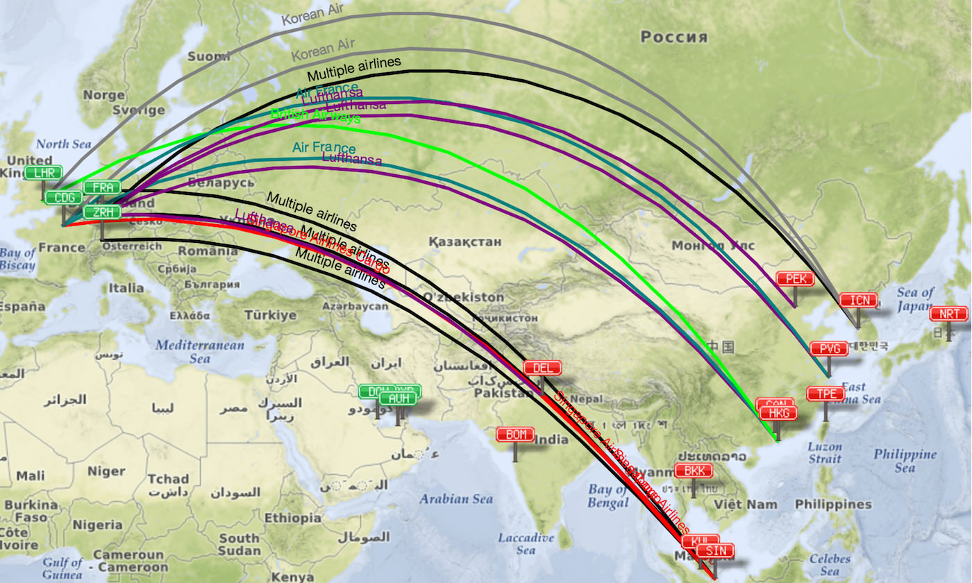 A380 routes from Europe to Asia